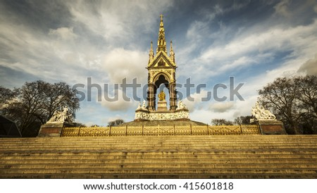 The Albert Memorial at dusk in Kensington Gardens, London, UK. Commissioned by Queen Victoria in memory of her husband, designed by Sir Gilbert Scott in neo-gothic style