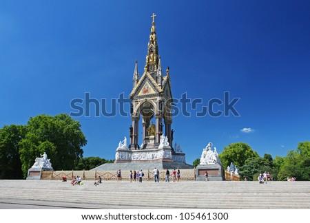 The Albert Memorial in London's Hyde Park - stock photo