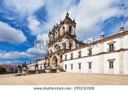 The Alcobaca Monastery is a Mediaeval Roman Catholic Monastery in Alcobaca, Portugal - stock photo