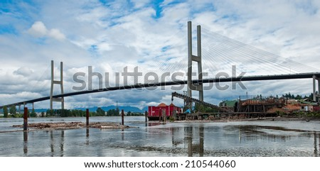 The Alex Fraser Bridge in Vancouver, British Columbia. - stock photo