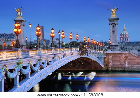The Alexander III Bridge across river Seine in Paris, France. - stock photo