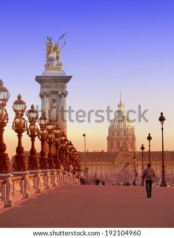 The Alexander III Bridge across Seine river in Paris, France - stock photo
