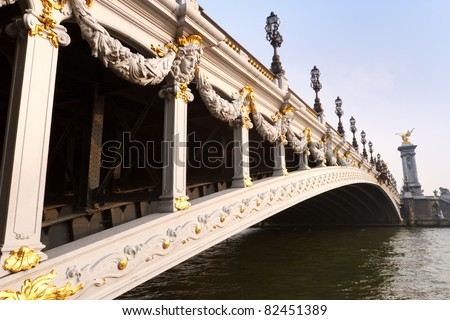 The Alexander III bridge in Paris in late afternoon - stock photo