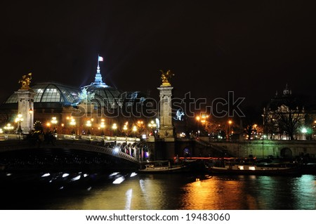 The Alexander III bridge, Paris by night, France
