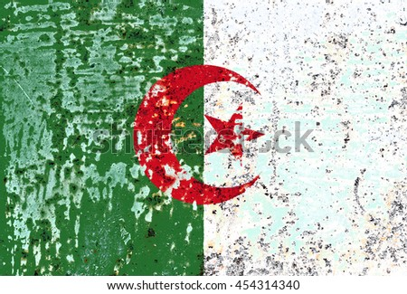 The Algeria flag painted on grunge metal - stock photo