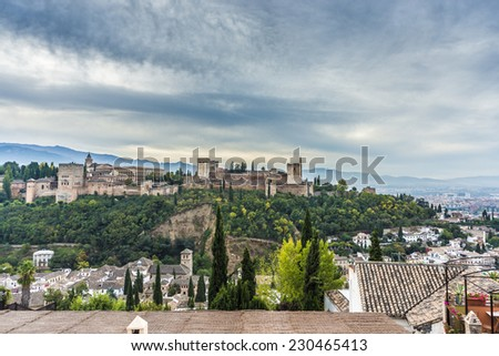 The Alhambra, a palace and fortress complex originally constructed as a small fortress until its ruins were rebuilt by the king Mohammed ben Al-Ahmar in Granada, Andalusia, Spain.