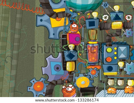The aliens subject - ufo - for kids - kindergarten - menu - screen - space for text - happy and funny mood - stock photo