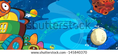 The aliens subject - ufo - star - kindergarten - menu - screen - space for text - happy and funny mood - illustration for the children - stock photo