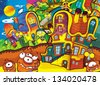 The aliens theme - ufo - for kids - kindergarten - menu - screen - space for text - happy and funny mood - stock photo