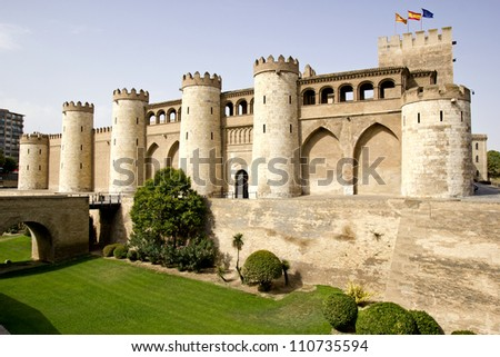 The Aljaferia Palace is a fortified palace built during the second half of the eleventh century in Zaragoza (Spain). Islamic. - stock photo