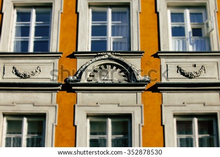 The All Seeing Eye on the Facade of a Building - stock photo