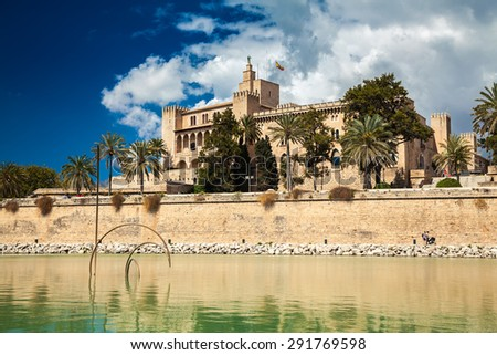 the Almudaina Palace in Palma de Mallorca, Spain - stock photo