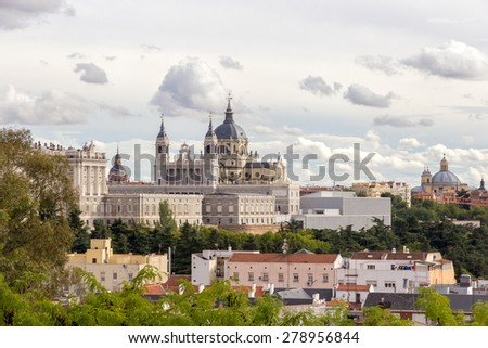 The Almudena Cathedral in Madrid, Spain.  - stock photo