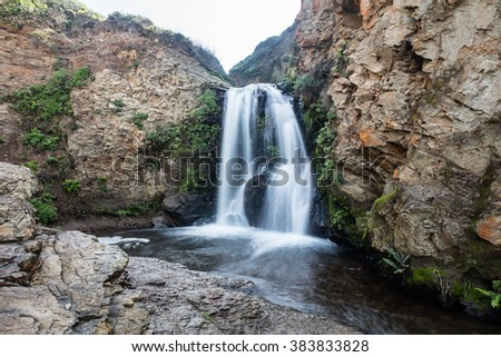 The Alomere waterfall is found along the scenic coast of northern California. This is one of the bay areas most beautiful hikes and is found in Point Reyes National Seashore. - stock photo