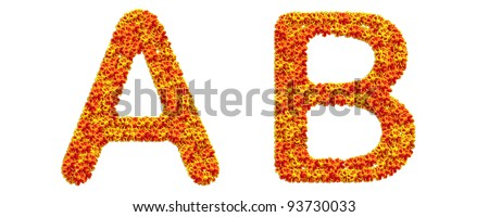 The alphabet flower on white background A B