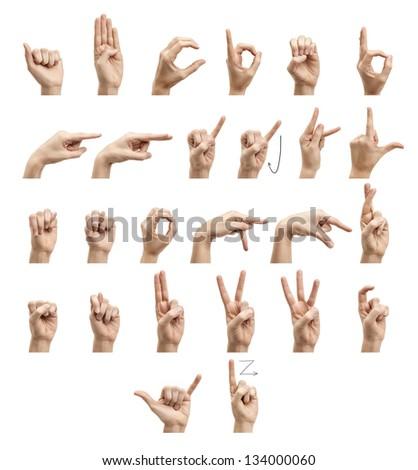 The alphabet using American Sign Language - stock photo