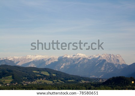 The Alpine mountains of Austria below the warm sun of summer