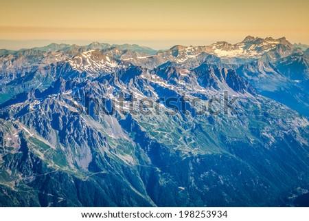 The Alps over Chamonix - stock photo