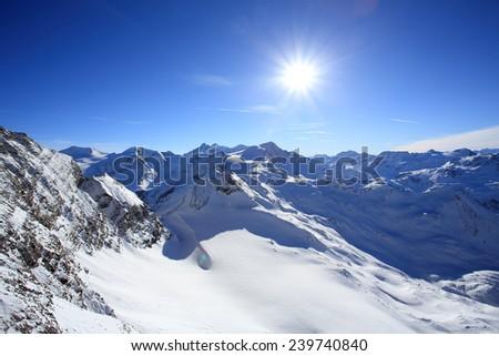 The Alps - view from the Kitzsteinhorn near Kaprun in Austria - stock photo