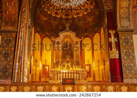 The Altar at echmiadzin Cathedral in Armenia - stock photo