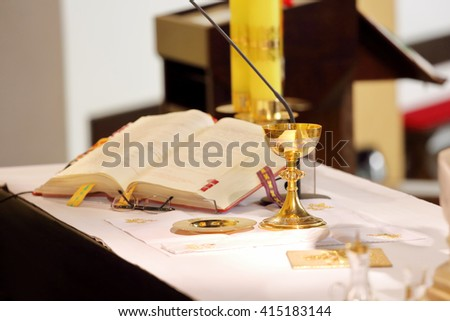 The altar in the church and chalice