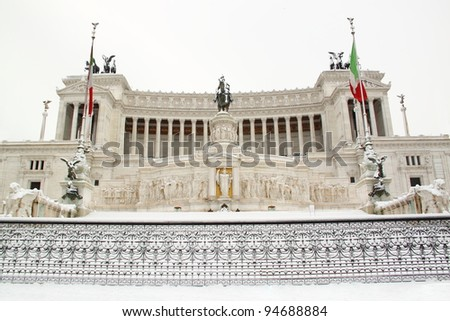 The Altar of Motherland covered by snow, a really rare event in Rome - stock photo