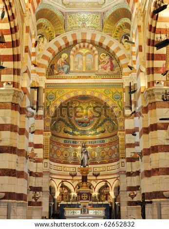 The altar of the Notre dame da le garde cathedral, in Marseille France - stock photo