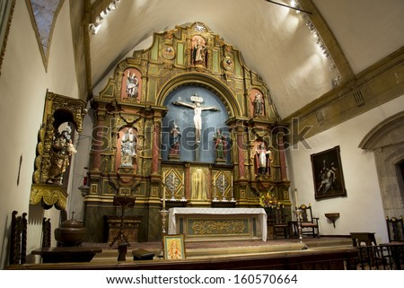 The alter at the mission in Carmel, CA. - stock photo
