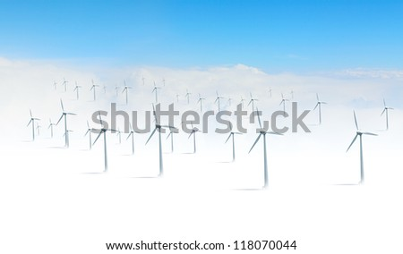 The Alternative energy. Group of energy-producing windmills