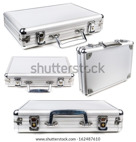 The aluminum carrying case. Microstock photography for over a white background - stock photo