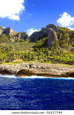 the amazing and wild  coastline of Majorca island, Spain