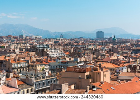 the amazing areal view on Marseille, France - stock photo