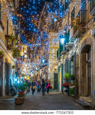 The amazing Artist's Lights (Luci d'Artista) in Salerno during Christmas time. Campania, Italy, December-11-2017
