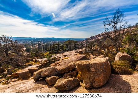 The Amazing Granite Stone Slabs and Boulders of Legendary Enchanted Rock, a Small Dome Mountain, in the Texas Hill Country. - stock photo