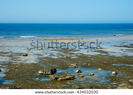 The amazing landscape with rock and beach