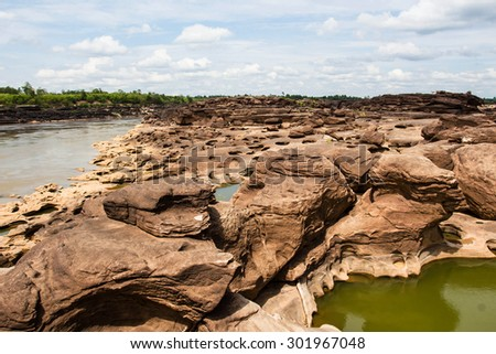 The Amazing of Rock in Mekong River, Ubon Ratchathani, Thailand. - stock photo