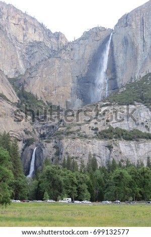 The amazing view of Yosemite's fall The upper fall is wonderful because you can see two waterfalls together It's a very magical show Yosemite national park  California USA
