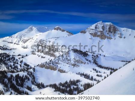 The amazing views from Jackson Hole Mountain Ski Resort in the Grand Teton National Park, Wyoming - stock photo