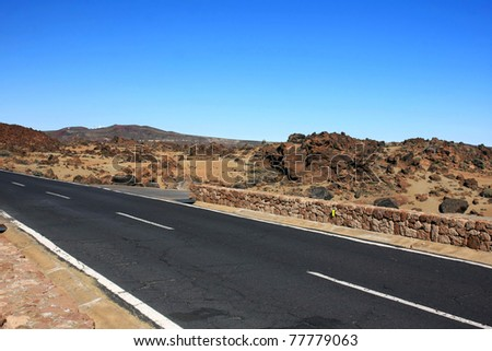 the amazing wild way to El Teide volcano, Tenerife, Canary islands - stock photo