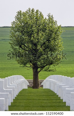 The American Cemetery in the Vallee de la Somme in France. The Battle of the Somme took place in the First World War between July and November 1916. Over 600,000 allied and 465,000 German troops died. - stock photo