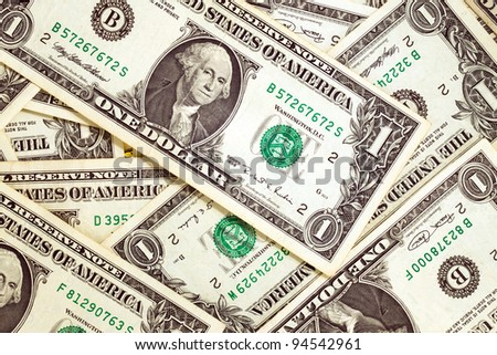 The American dollars combined together, in cost in one dollar - stock photo