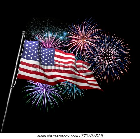 The American flag against 4th of July fireworks exploding in background. Independence Day concept           - stock photo