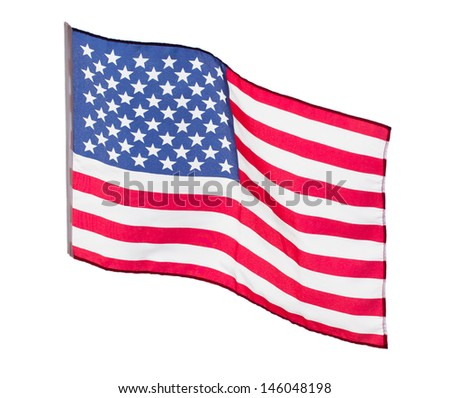 The American flag in the wind  on a white background