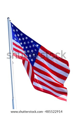 The American flag isolate on white background.