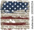 The American flag symbol against a brick wall. Raster version. - stock photo