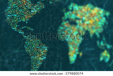 The Americas in focus. The map of the world represented by illuminated digital connections. 3D image with depth of field on a LED screen. - stock photo