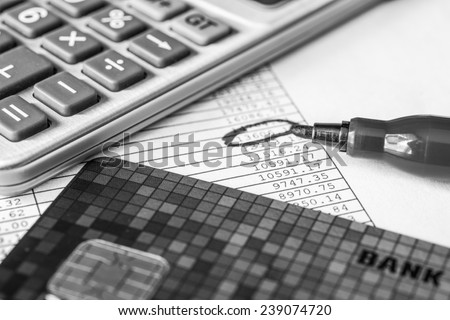 The amount of debt payments, total amount circle with a red marker - stock photo