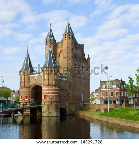 The Amsterdamse Poort, former gateway to the  Amsterdam, Haarlem, Holland - stock photo
