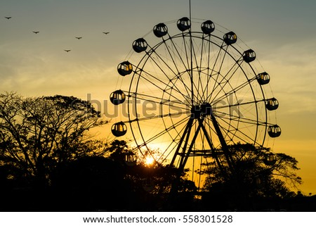 The amusement park in the evening
