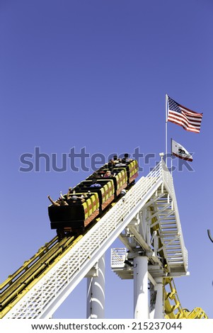 The amusement park on the Santa Monica Pier in Santa Monica, California - stock photo